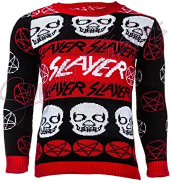 mens unisex slayer jumper rock sweater metal ugly christmas jumper xmas anarchy gothic alchemy m - Metal Band Christmas Sweaters