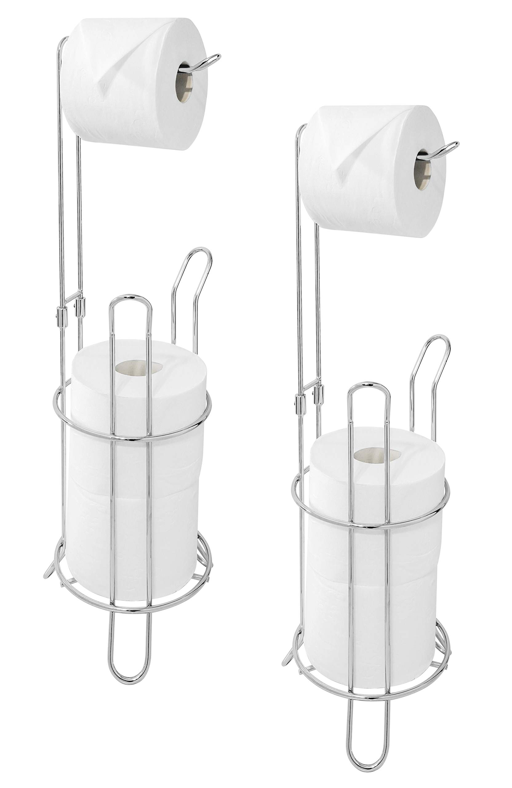 Paradis Bathroom Toilet Tissue Paper Roll Storage Holder Stand, Chrome Finish (Pack of 2)