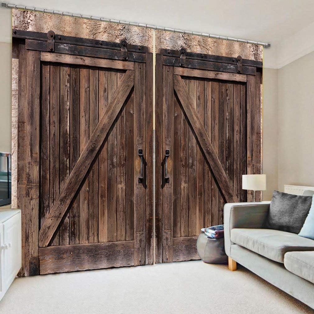 asfrata11 Curtains Modern 11D Creative Vintage Rust Wooden Door