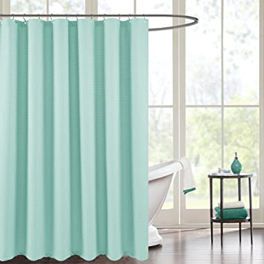 Waterproof Fabric Shower Curtain for Bathroom,Waffle Woven Fabric Metal Grommets Top, 70 by 72 inches, Light Teal