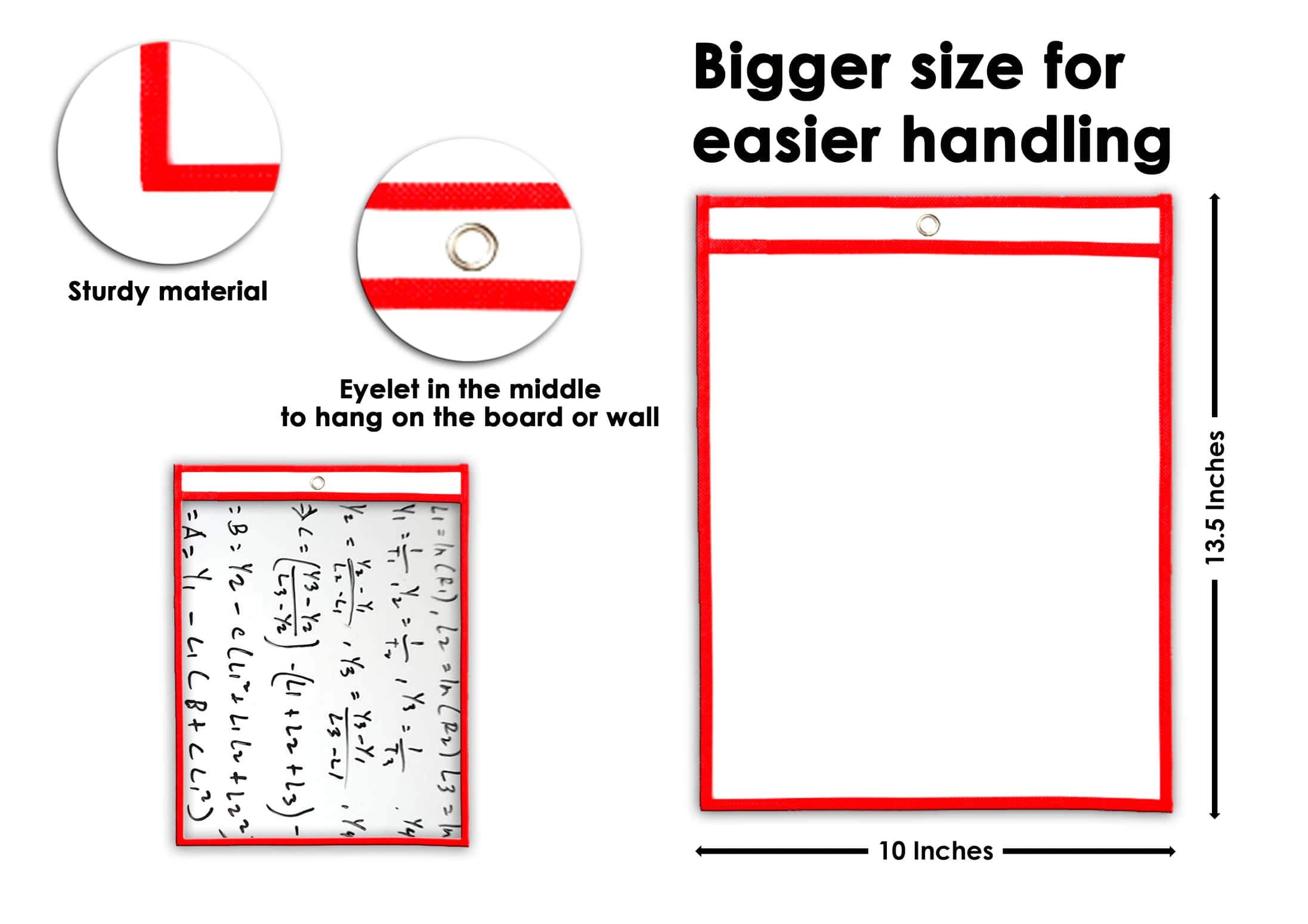 Zebbo Dry Erase Pockets 10 x 13.5 60 Pack School Supplies Teacher Supplies for Classroom Organization Office Organization by Zebbo