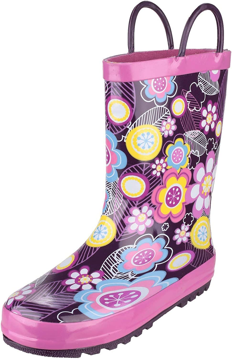 Cotswold Girls Puddle Patterned Rubber Welly Wellington Boots