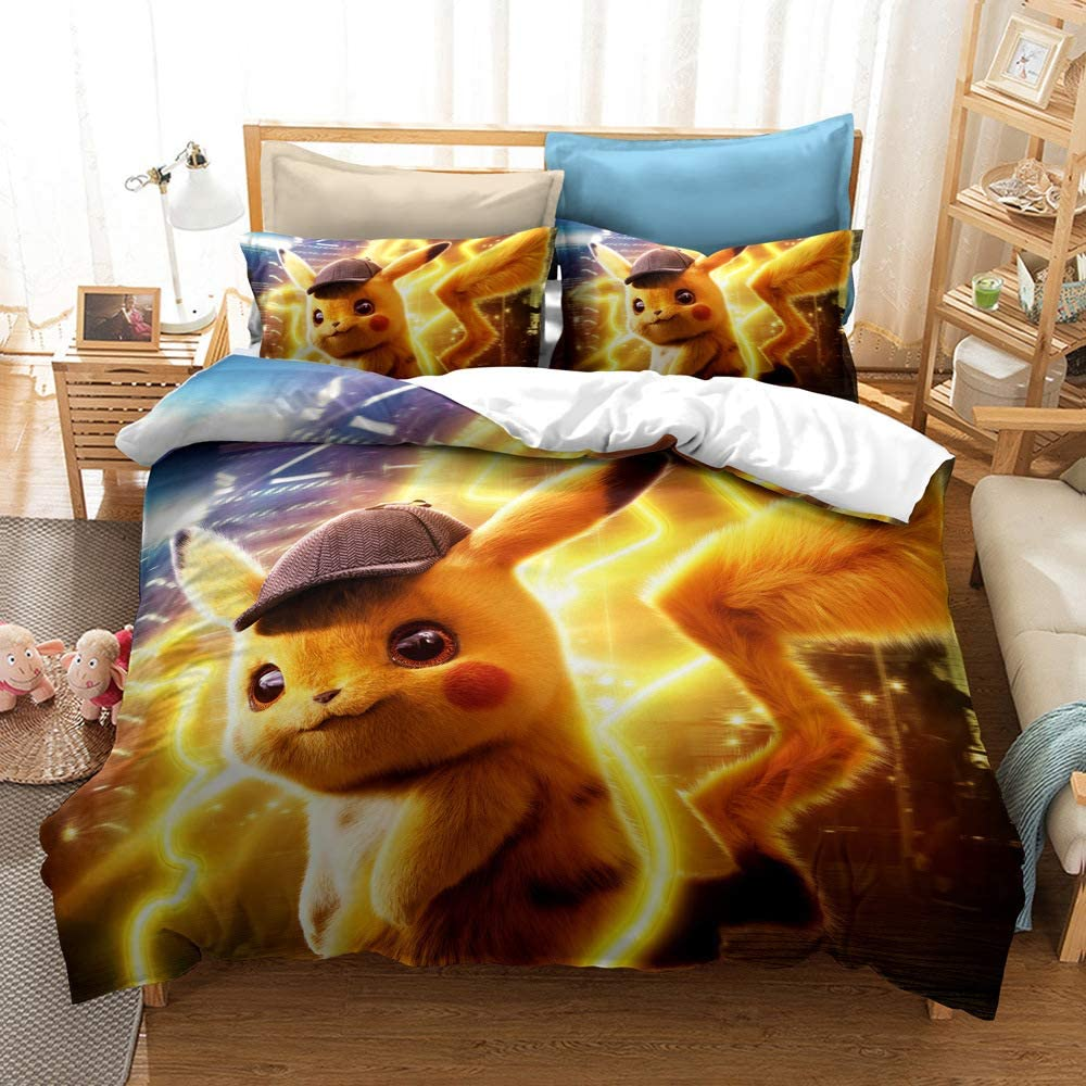 3D Duvet Cover Set for Pokemon Pikachu 2 pcs Cartoon Anime Bedding Set Soft Microfiber with Zipper Closure Best Gifts for Kids Style1 Twin