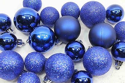 20 Holiday Time Mini Shatterproof Satin Shiny And Glitter Finish Bulb Christmas Ornaments Dark Blue
