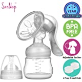 SanNap FDA Approved Manual Breast Pump Most Comfortable with Silicon Massage Cushion and Baby Feeding Nipple BPA-Free (White)