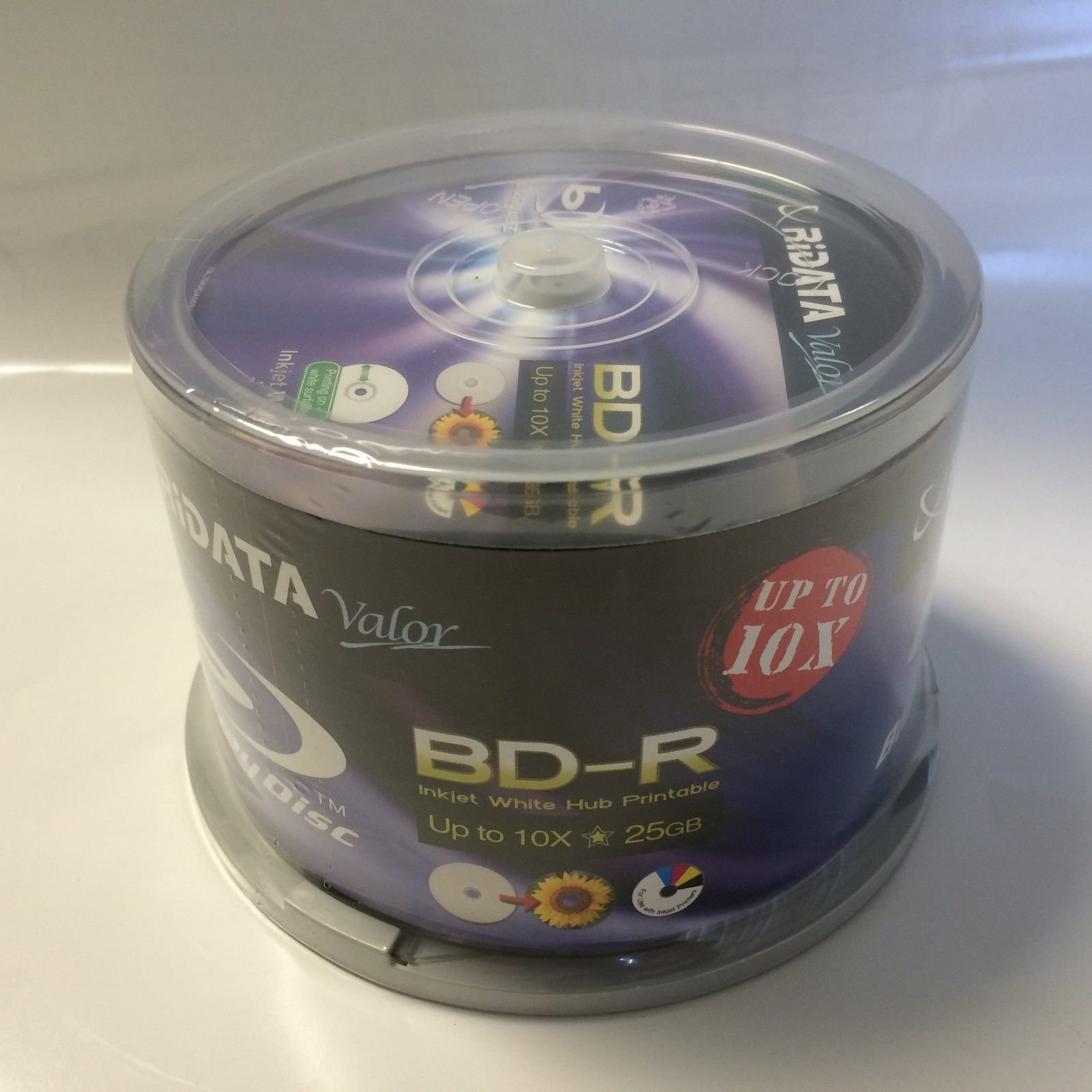 50 Ridata Valor White Inkjet Printable Blu-ray Bd-r Blank Disc 25gb up to 10x by Ridata