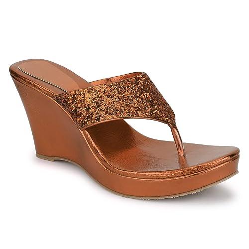 16da521252d SHOFIEE Women s Stylish Trendy Glitter Wedge