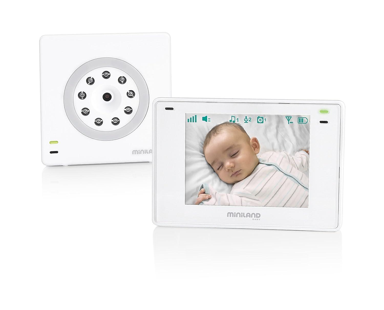 Miniland 89174 Baby Monitor Digimonitor 3.5 plus con applicazione eMyBaby per vedere il bèbè da qualsiasi luogo e fino a 250 metri di portata