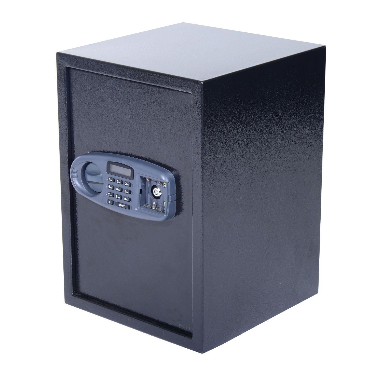 HOMCOM 20'' x 14'' x 14'' Two Shelf Home Security Safe with Electronic Keypad - Black