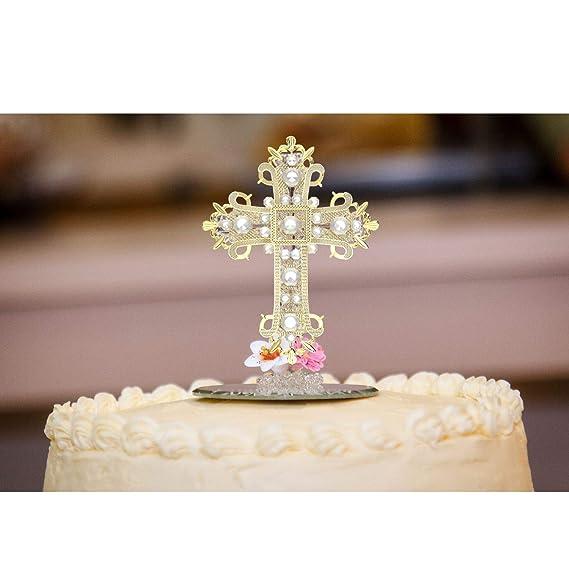 Large Rhinestone Cross Baptism Communion Christening Easter Party Cake Topper