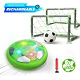 DEERC Kids Game Toys Hover Soccer Ball Set Rechargeable Air Soccer with 2 Goals, Ball Toy with LED Light for Indoor…