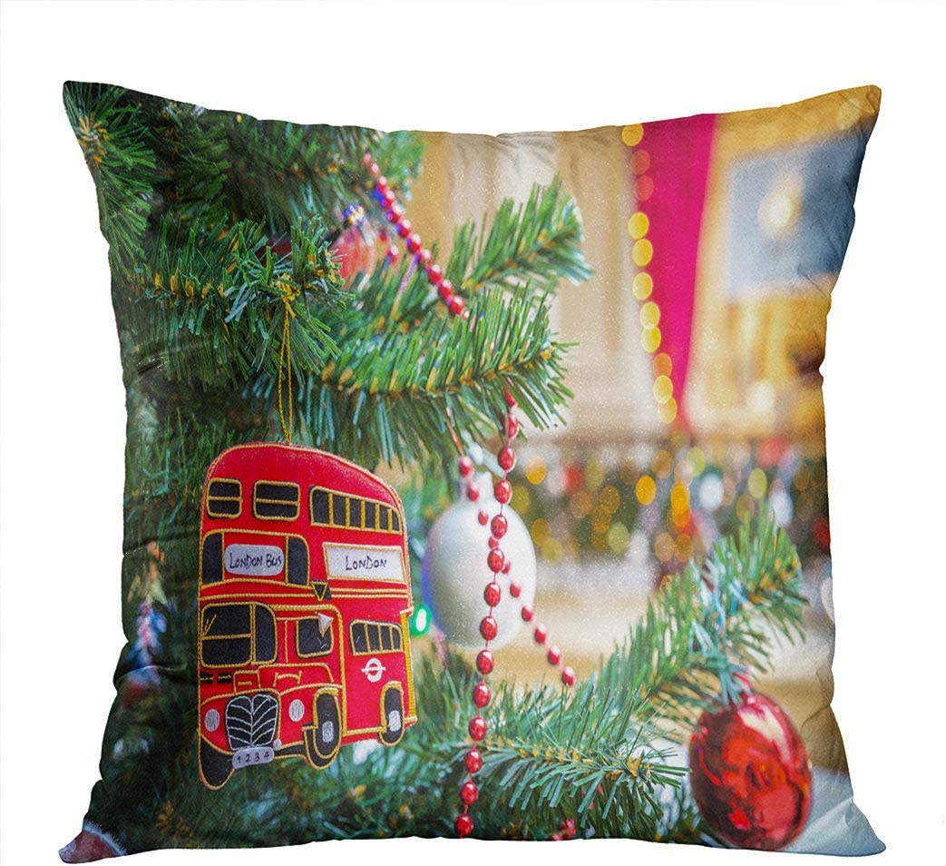 Moladika Throw Pillow Cover Square Christmas Tree with British Red Bus Cushion Home Decor Living Room Bedroom Office Polyester Pillowcase 20 x 20 Inch