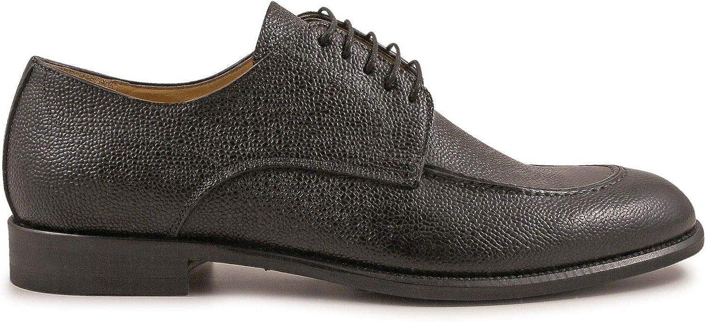 LEONARDO SHOES Mens 4827SCOZIANERO Black Leather Lace-Up Shoes