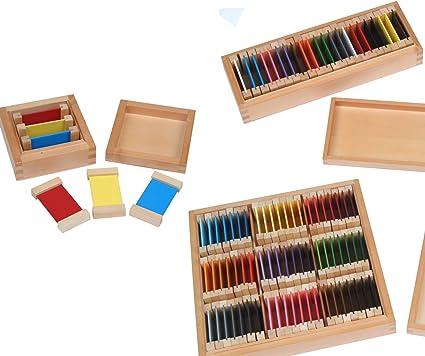 montessori cajones de caja con tablitas, I, II y III, montessori material de la teoría del Color: Amazon.es: Oficina y papelería