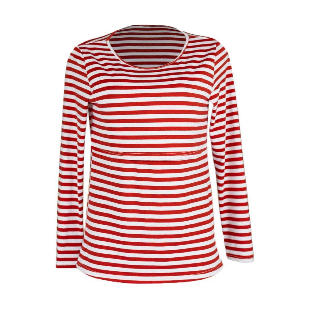 Keephen Women Long Sleeve Nursing Shirts Cotton Striped Nursing Tops Breastfeeding Clothes