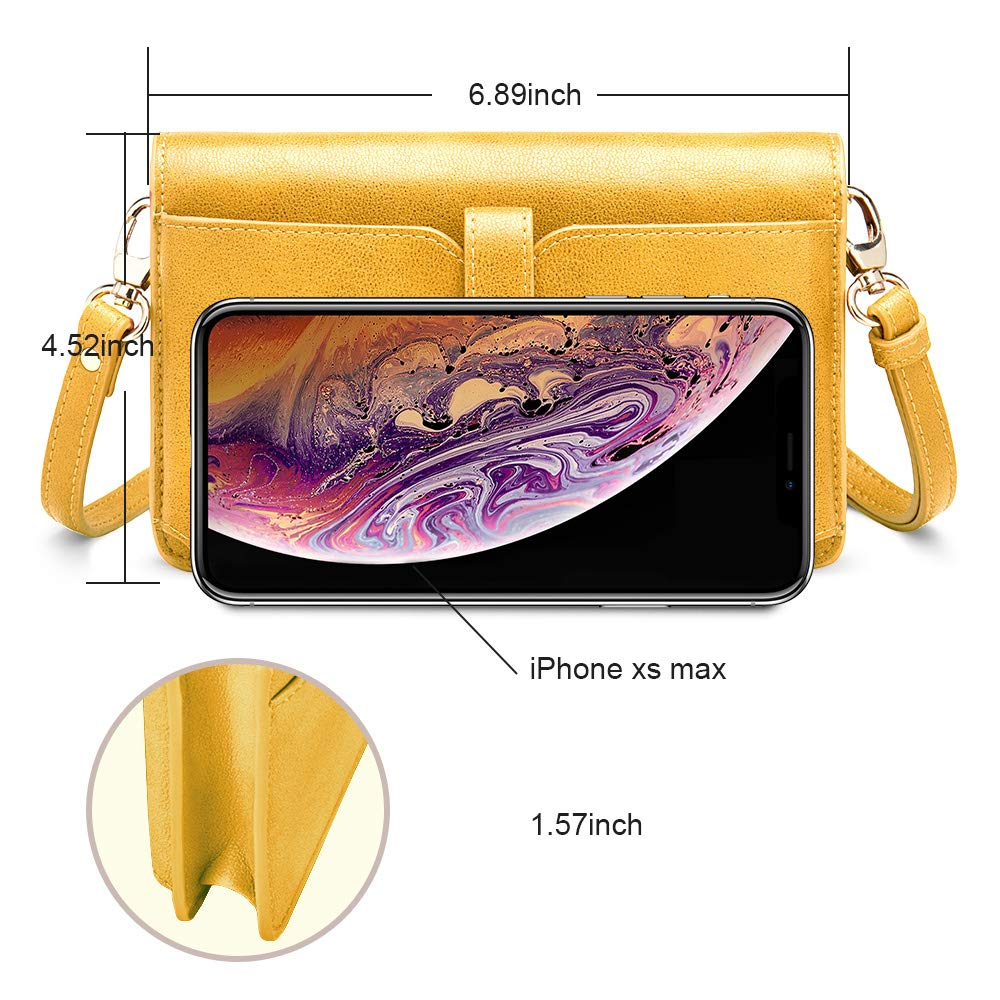 nuoku Women Small Crossbody Bag Cellphone Purse Wallet with RFID Card Slots 2 Strap Wristlet(Max 6.5'') … (Yellow) by nuoku (Image #4)