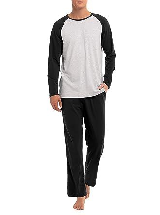 a47818aed04 David Archy Men s Cotton Raglan Sleepwear Long Sleeve Top   Bottom Pajama  Lounge Set (S