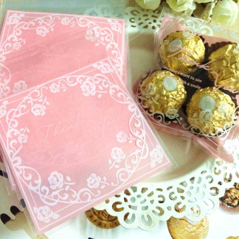 Cute Floral 100 Pcs Plastic THANK YOU Self-adhesive Cookie Candy ...