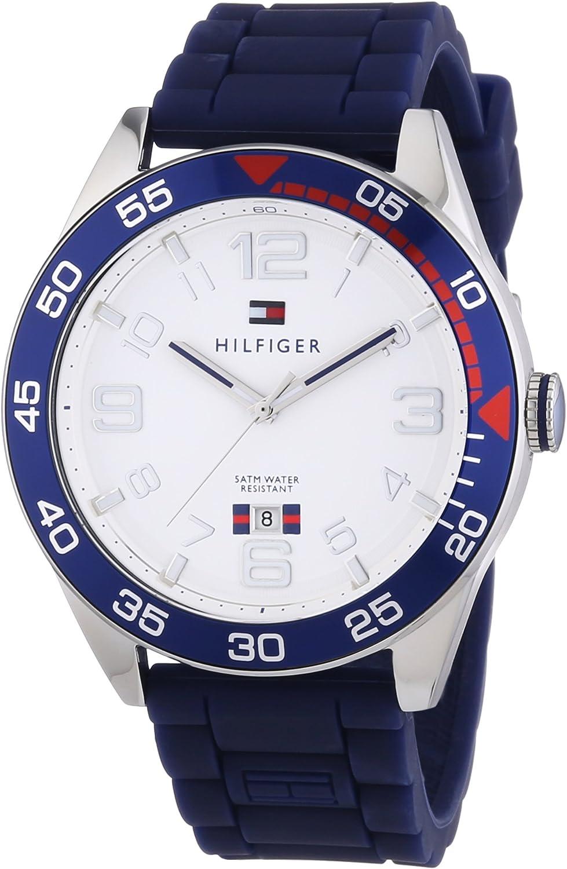 Tommy Hilfiger Cal - Reloj de Cuarzo para Hombre, Correa de Silicona Color Azul