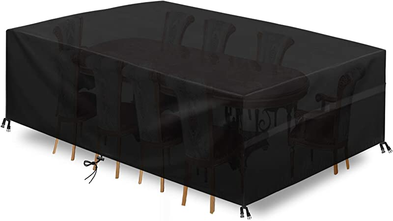 per Tavoli e Sedie da Cortile SONGMICS 600D Oxford Copertura Protettiva per Mobili Arredamento da Giardino,242 x 162 x 100 cm Rettangolare per Esterno Impermeabile Grigio GFC96G