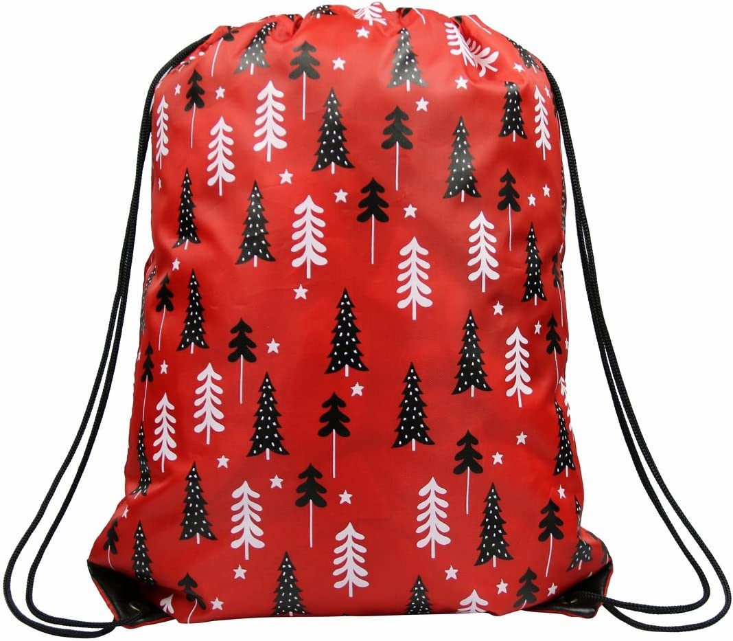 Drawstring Backpack Christmas Trees Xmas Red White Bags
