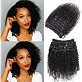 """Urbeauty Afro Kinky Curly Clip ins Human Hair Extensions for Black Women 12"""" Short Curly African American Remy Clip in Real Hair Extensions (#1B Natural Black,10Pcs/100g)"""