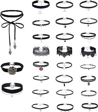 Mingjun conjunto collar Choker Stretch encaje gótica Tattoo collar de terciopelo con colgante para las mujeres Girls, pack de 27 chokers: Amazon.es: Joyería