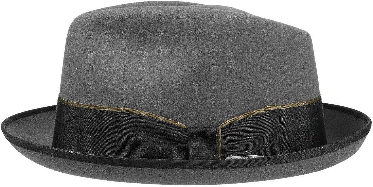 Stetson Sombrero de Fieltro Pelo Vertasco Hombre - Made in The EU Fedora Pork pie músico con Banda Grosgrain otoño/Invierno