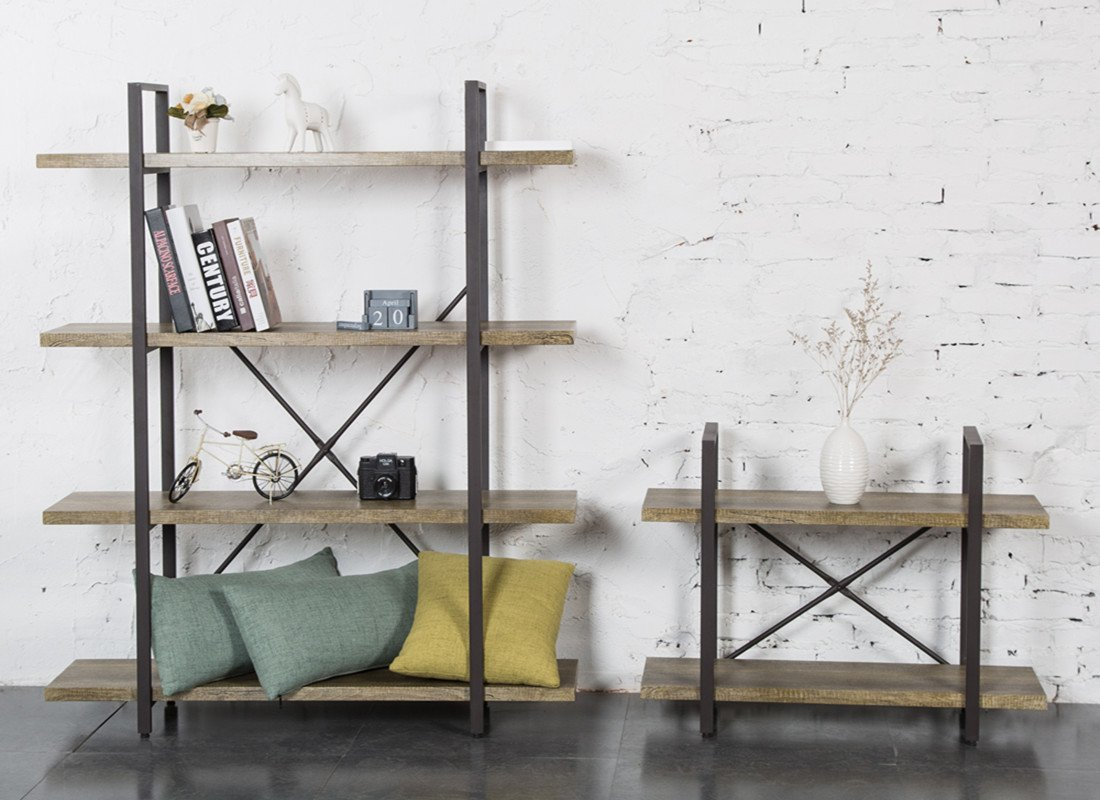 Amazon: O&K Furniture 2-Tier Bookcase, Vintage Industrial Style  Bookshelves: Kitchen & Dining