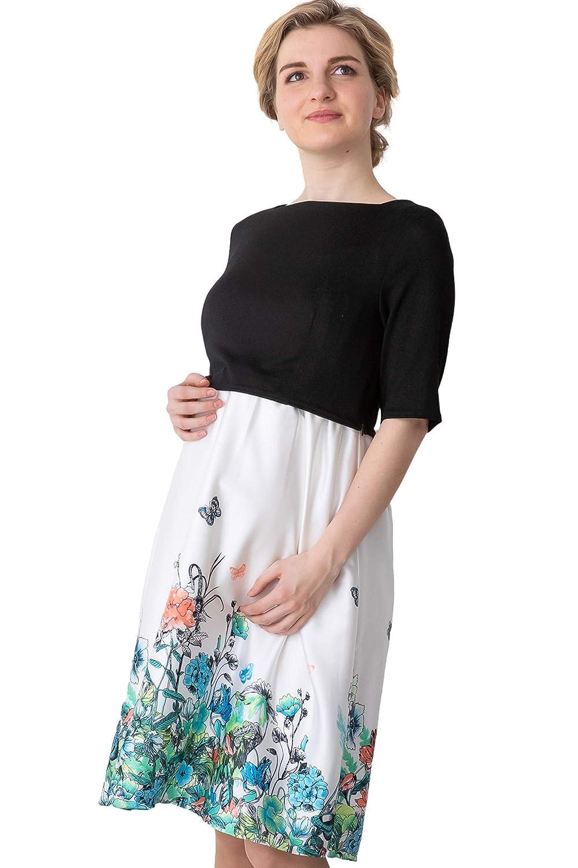 Maternity Nursing Breastfeeding Summer Formal Floral Pattern Dress Baby Shower Party 3//4 Sleeve