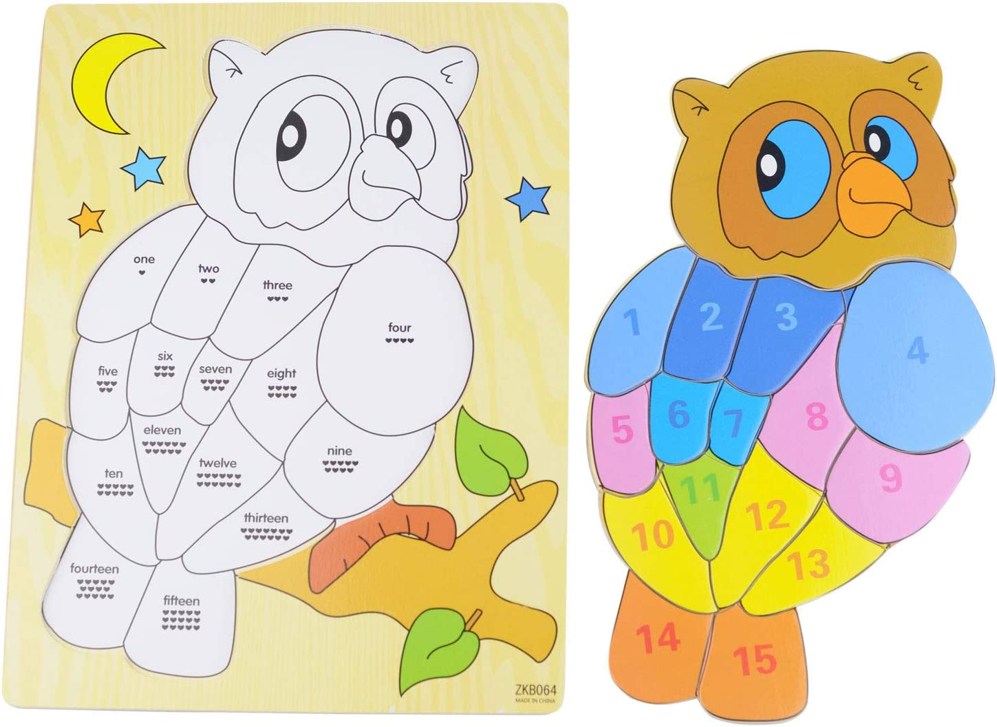2D Colorful Owl IQ Puzzle KAILIMENG Wooden 15 Pieces Digital Number Jigsaw