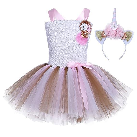 IEFIEL Vestido de Princesa Fiesta Cumpleaños para Niña Vestido Traje de Ceremonia Actuación con Diadema Cuerno