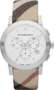 Burberry Unisex Men Women Watch The City Swiss Luxury Round Stainless Steel Chronograph White Date Dial Nova Check Fabric (Authentic Leather Backed) Band 42mm BU9357