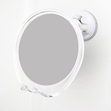 1x Magnifying No Fog Shower Mirror With Rotating Suction Cup, Built In  Razor Holder.