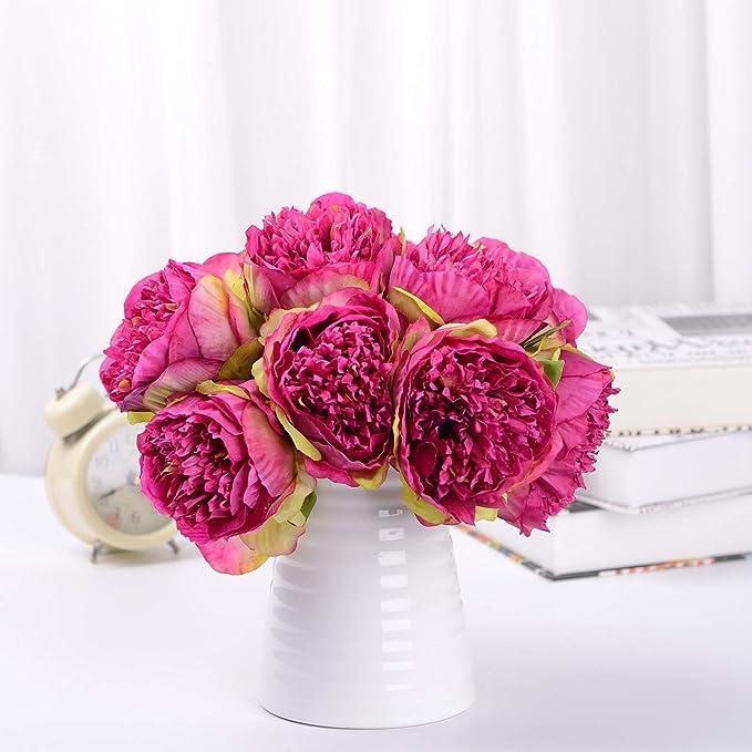 Attvn - Flores Artificiales de peonía, 2 Unidades, Flores de Seda ...