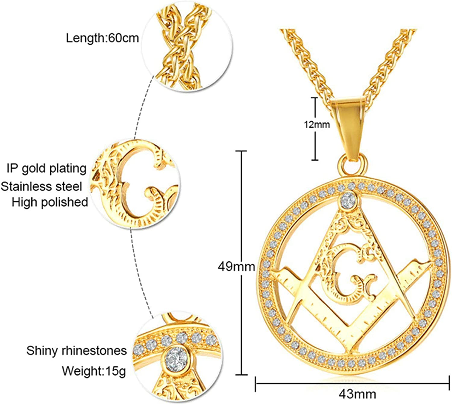 KnSam Necklace for Men Pendant Necklaces Gold Stainless Steel Masonic