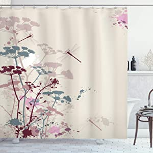 "Ambesonne Dragonfly Shower Curtain, Plants Petals with Dragonfly Soft Color Design with Grunge Effects Vintage Style, Cloth Fabric Bathroom Decor Set with Hooks, 84"" Long Extra, Grey Yellow"