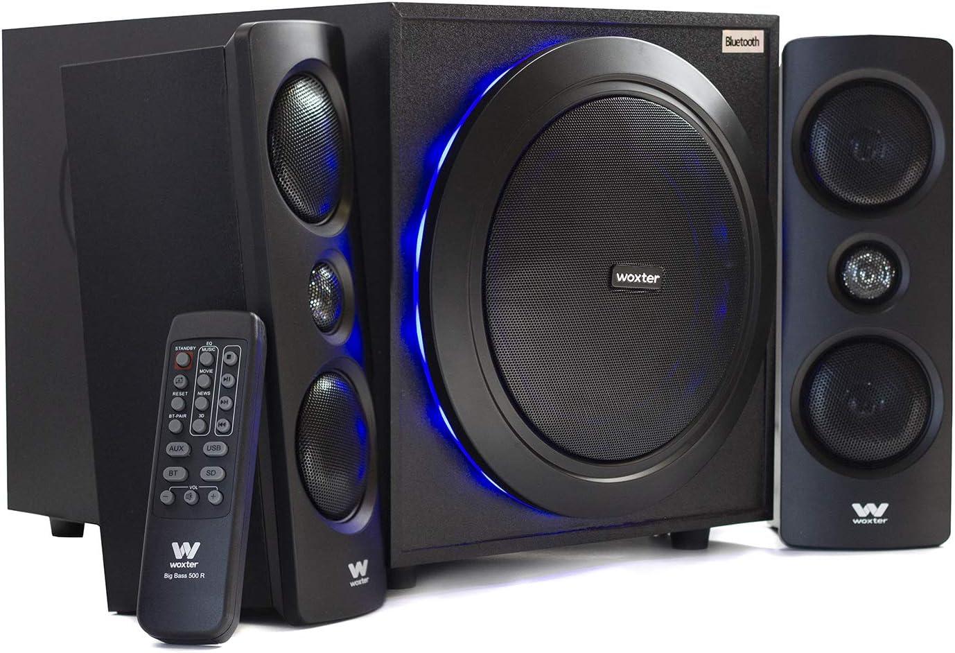 Woxter Big Bass 500 R - Altavoces 2.1, 150W BLUETOOTH, LEDS, Subwoofer de MADERA, Conexión de Auriculares y Jack de 3.5mm para Conectar Dispositivos