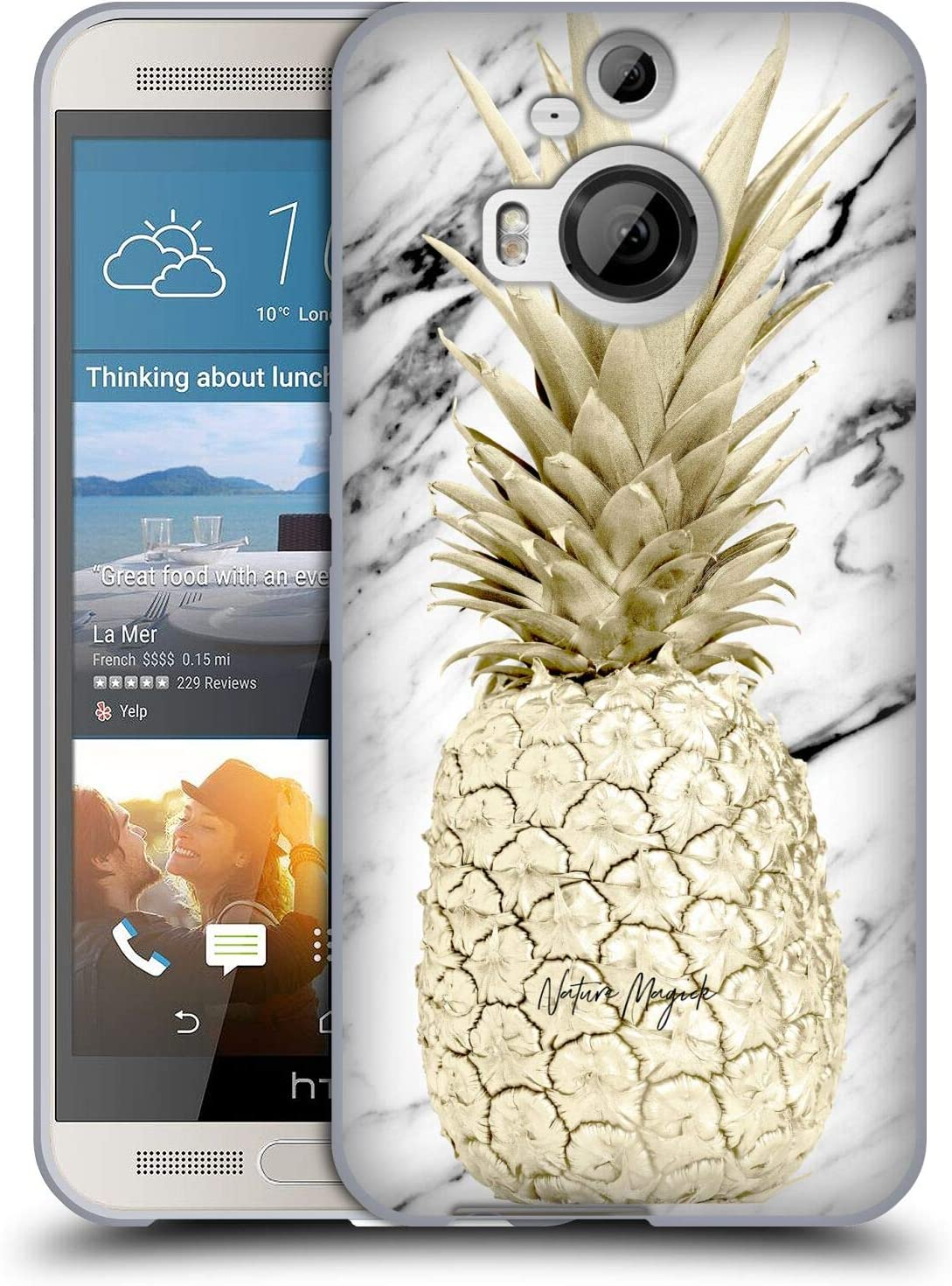 Head Case Designs Officially Licensed Nature Magick Gold Pineapple Pineapple on Marble Soft Gel Case Compatible with HTC One M9+