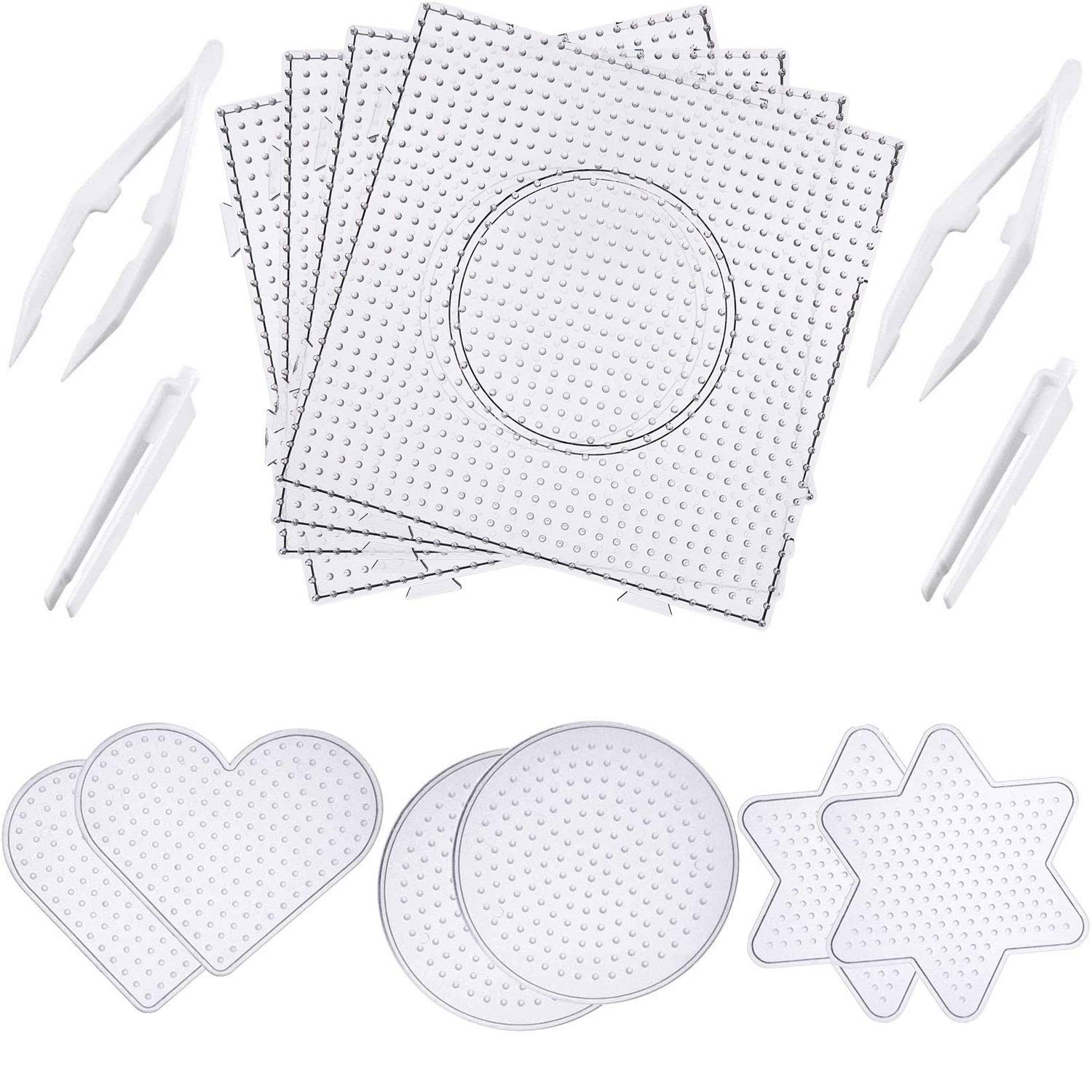 Canomo Fuse Beads Boards Clear Plastic Pegboards Fuse Beads Pegboards with 4 Pieces Tweezers for 5 mm Beads, 10 Pieces (4 Shapes) by canomo