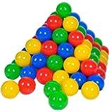 Knorrtoys 56789 - Bälleset - 100 bunte Plastikbälle/ Bälle für Bällebad im Netz, 6 cm Durchmesser, in Farbmischung blau / rot / gelb / grün, ohne gefährliche Weichmacher