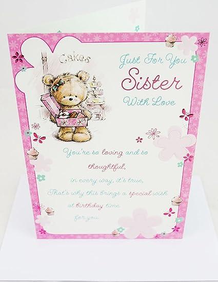 Feliz tarjeta de felicitación de cumpleaños para hermana ...