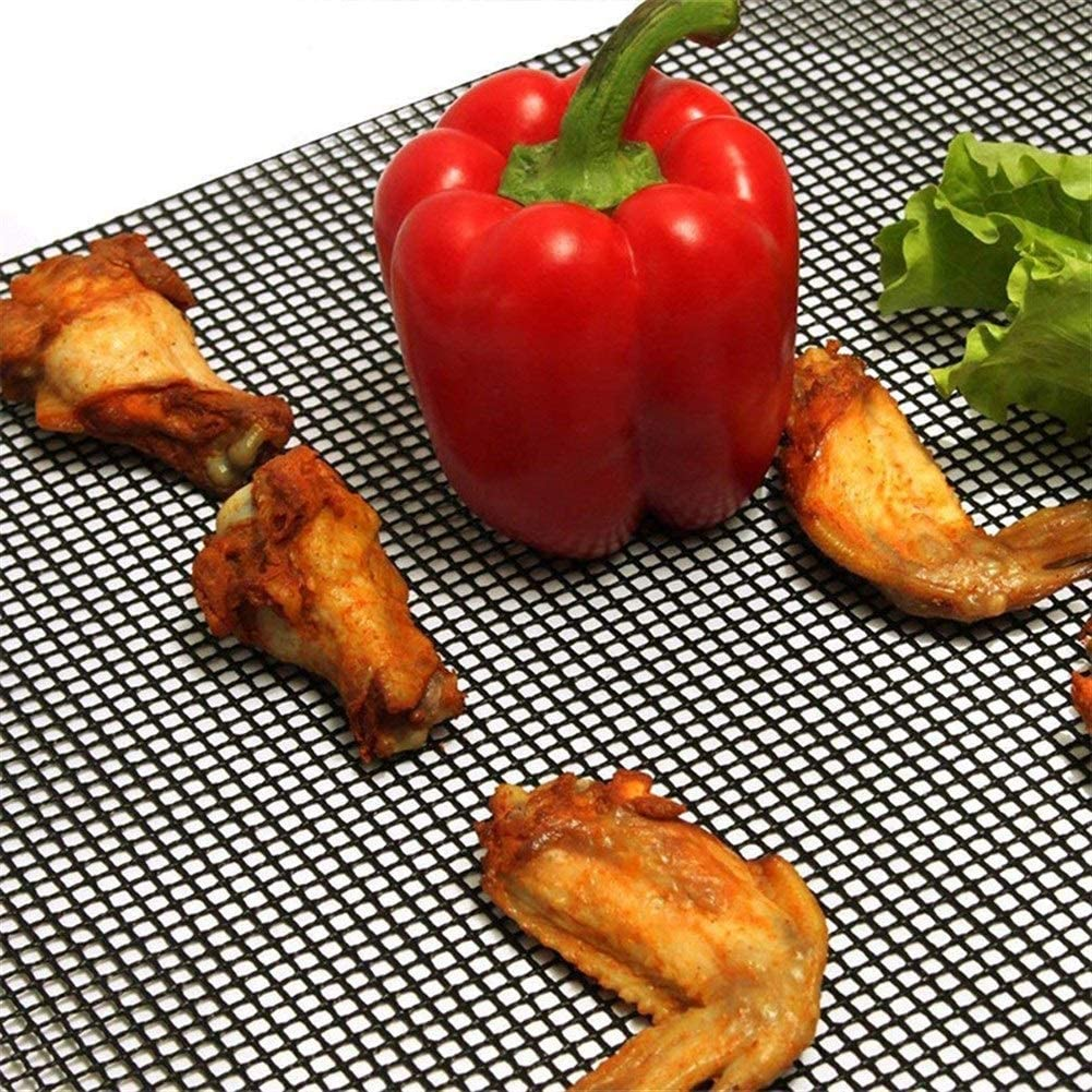 Llan Antihaft-Barbecue Netzmatte Wiederverwendbare Wärmebeständigkeit BBQ Back Net Pad Teflon Grilling Blatt 40 * 33cm Grill Liner (Color : Black 5PC) Black 2pc
