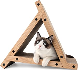 FUKUMARU 3 Sided Vertical Cat Scratching Post, Triangle Cat's Scratch Tunnels Toy, Scratcher Ramp for Kitten Play Exercise