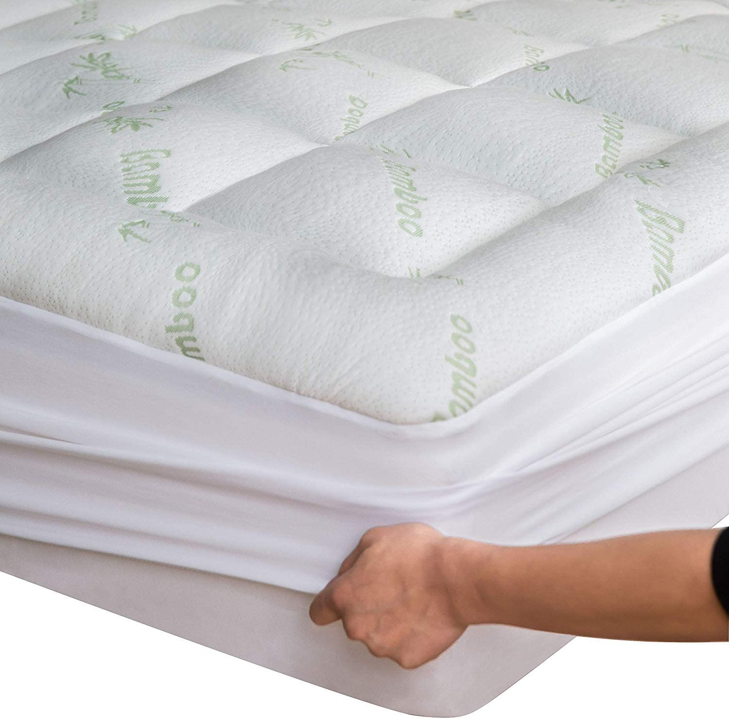 Niagara Sleep Solution Bamboo Mattress Topper Full XL 54X80X15 inches Cooling Breathable Extra Plush Thick Fitted 20Inches Pillow Top Mattress Pad Rayon Cooling Ultra Soft (Bamboo, Full XL)