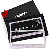 Tchipie 2 Pack Bling Rhinestone License Plate Frames for Women Girl, Bedazzled Sparkly Cute Diamond Car License Plate…
