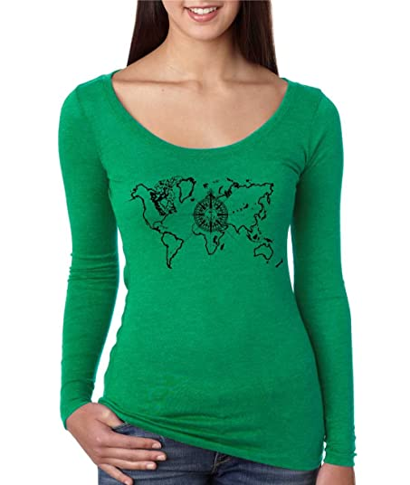 Amazon allntrends womens shirt world map compass cool stuff allntrends womens shirt world map compass cool stuff graphic tee s envy green gumiabroncs Gallery