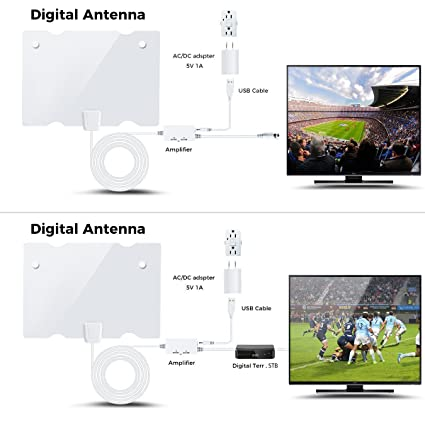 Digital antenna, TV antenna for digital TV indoor, 50+ miles range with  Detachable Signal Amplifier Booster for 1080P High Reception, Aluminum foil