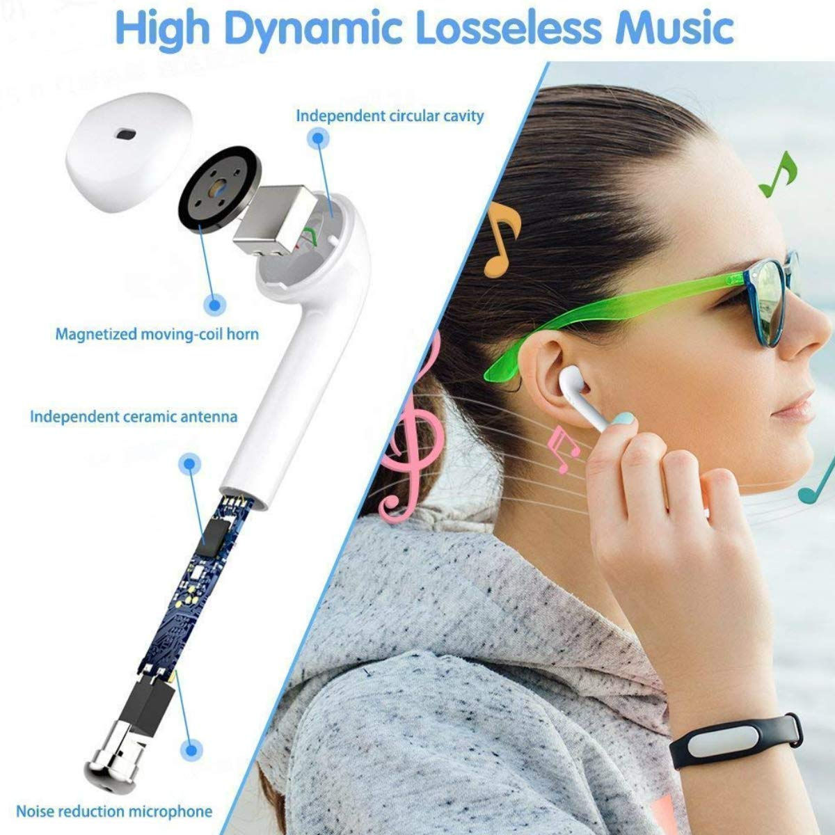 Wireless Earbuds Bluetooth Headphones Built-in Handsfree Mic and Charging Case Noise Cancelling HD Stereo Sport Bluetooth Headset,in-Ear Headphones for iPhone Airpods Android Samsung