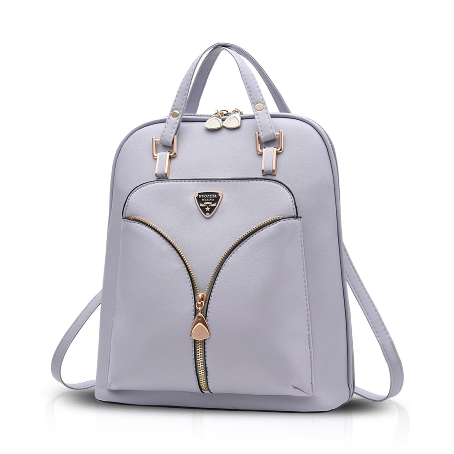 Sunas 2017 New Shoulder Bag Women's Bag PU Student Fashion Tide Bag Personalized Leisure Travel Dual Purpose Backpack (Gray)